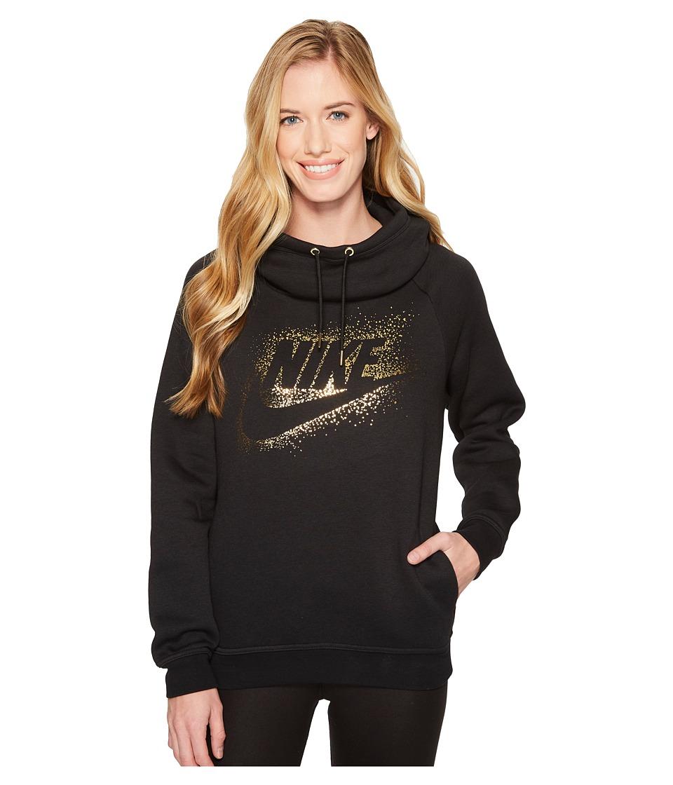 Nike Sportswear Rally Metallic Funnel-Neck Pullover Hoodie (Black/Black) Women