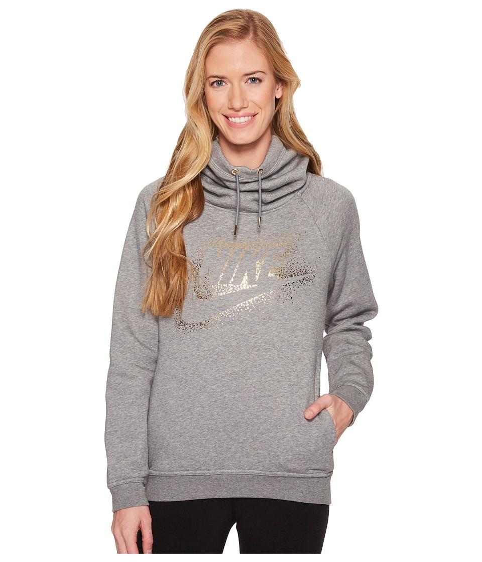 Nike Sportswear Rally Metallic Funnel-Neck Pullover Hoodie (Carbon Heather/Cool Grey) Women