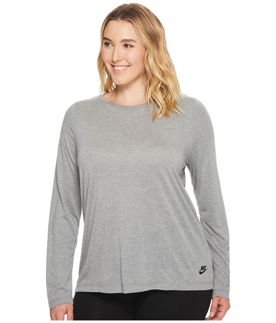 Nike Sportswear Essential Long-Sleeve Top (Size 1X-3X) (Carbon Heather/Carbon Heather/Black) Women