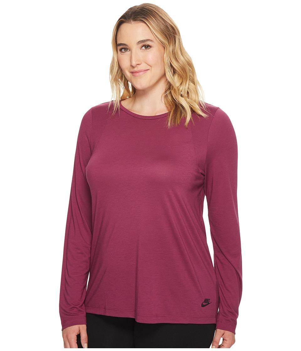 Nike Sportswear Essential Long-Sleeve Top (Size 1X-3X) (Tea Berry/Tea Berry/Port Wine) Women