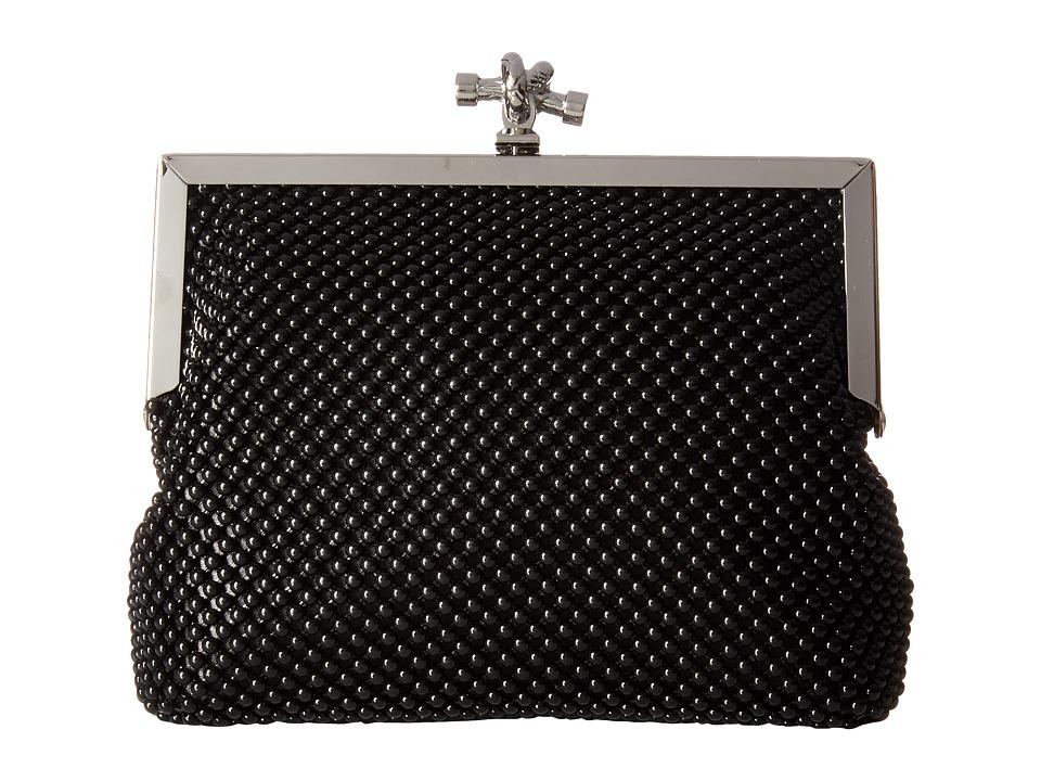 Jessica McClintock Becky Rope Mesh Frame Clutch (Black) Clutch Handbags