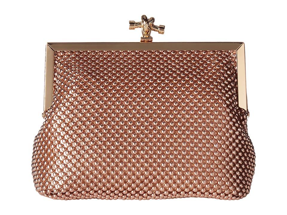 Jessica McClintock - Becky Rope Mesh Frame Clutch (Rose Gold) Clutch Handbags