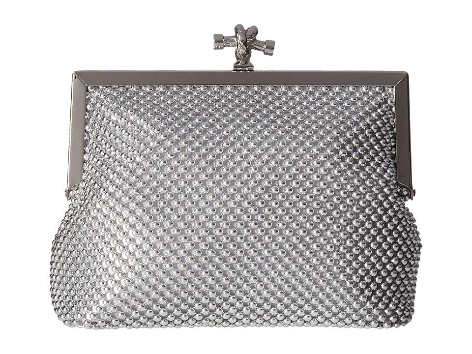 Jessica McClintock - Becky Rope Mesh Frame Clutch (Silver) Clutch Handbags