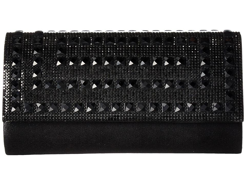 Jessica McClintock - Chloe Shimmer with Stones Clutch (Black) Clutch Handbags