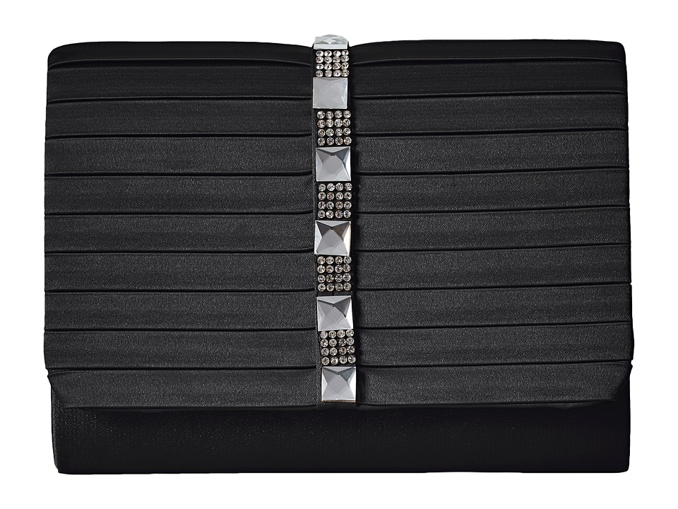 Jessica McClintock - Katie Satin Stone Clutch (Black) Clutch Handbags