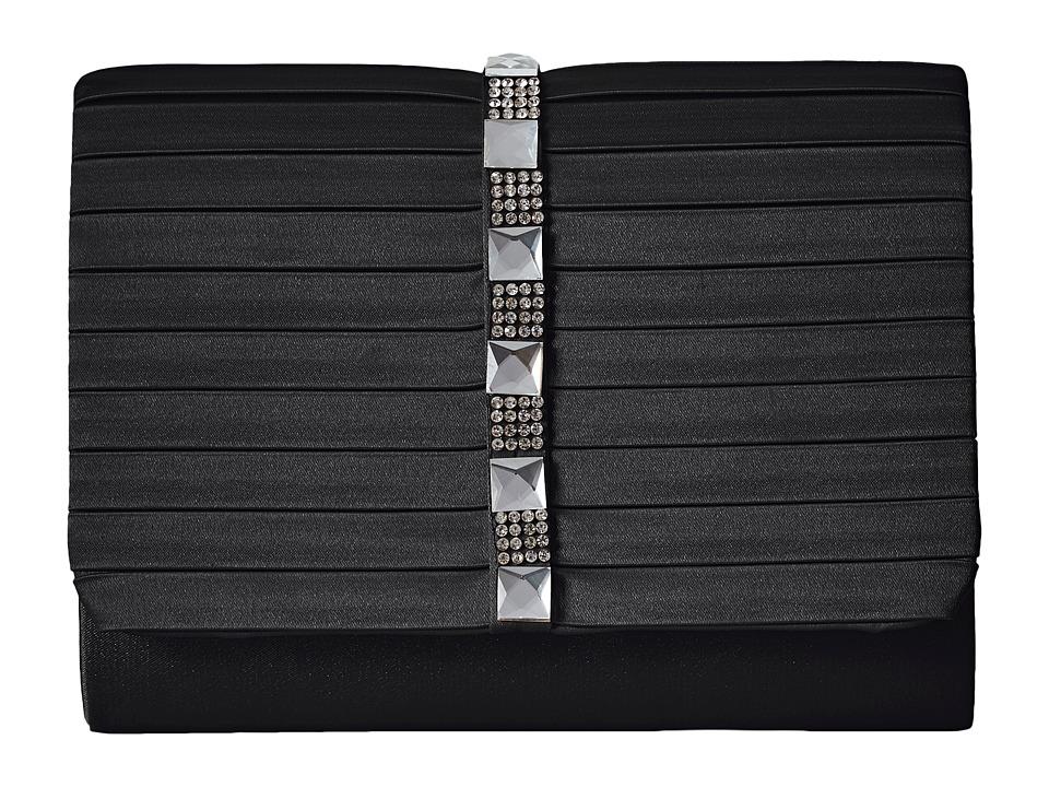 Jessica McClintock Katie Satin Stone Clutch (Black) Clutch Handbags