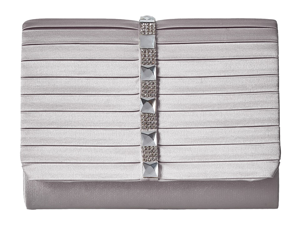 Jessica McClintock - Katie Satin Stone Clutch (Silver) Clutch Handbags