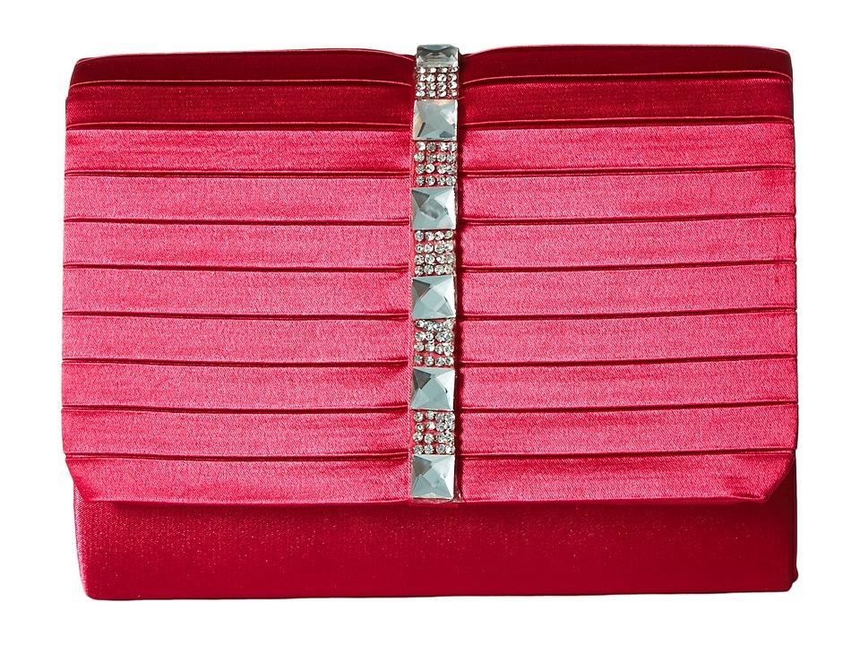 Jessica McClintock Katie Satin Stone Clutch (Raspberry) Clutch Handbags