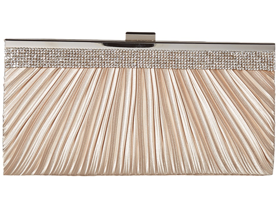 Jessica McClintock - Laura Pleated Satin Frame Clutch (Champagne) Clutch Handbags