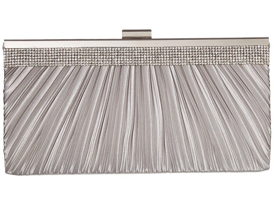 Jessica McClintock - Laura Pleated Satin Frame Clutch (Silver) Clutch Handbags