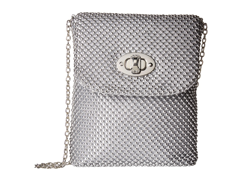 Jessica McClintock - Demi Mesh Phone Crossbody (Silver) Cross Body Handbags