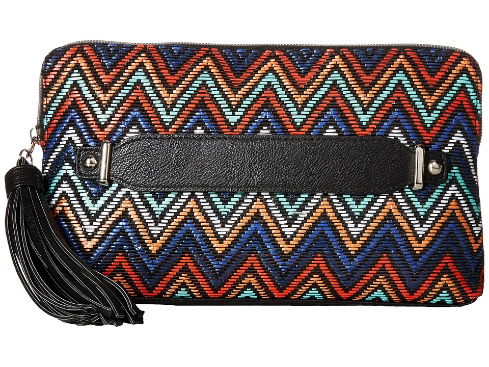 Jessica McClintock - Blake Straw Chevron Clutch (Multi Chevron) Clutch Handbags