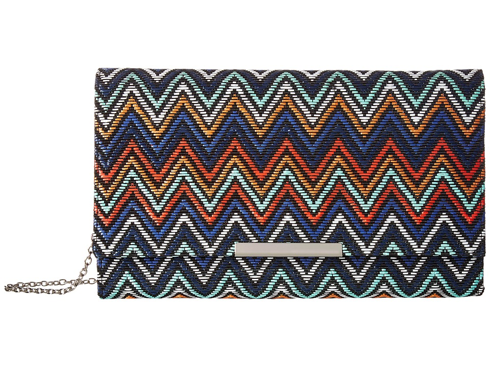 Jessica McClintock Nora Straw Chevron Clutch (Multi Chevron) Clutch Handbags
