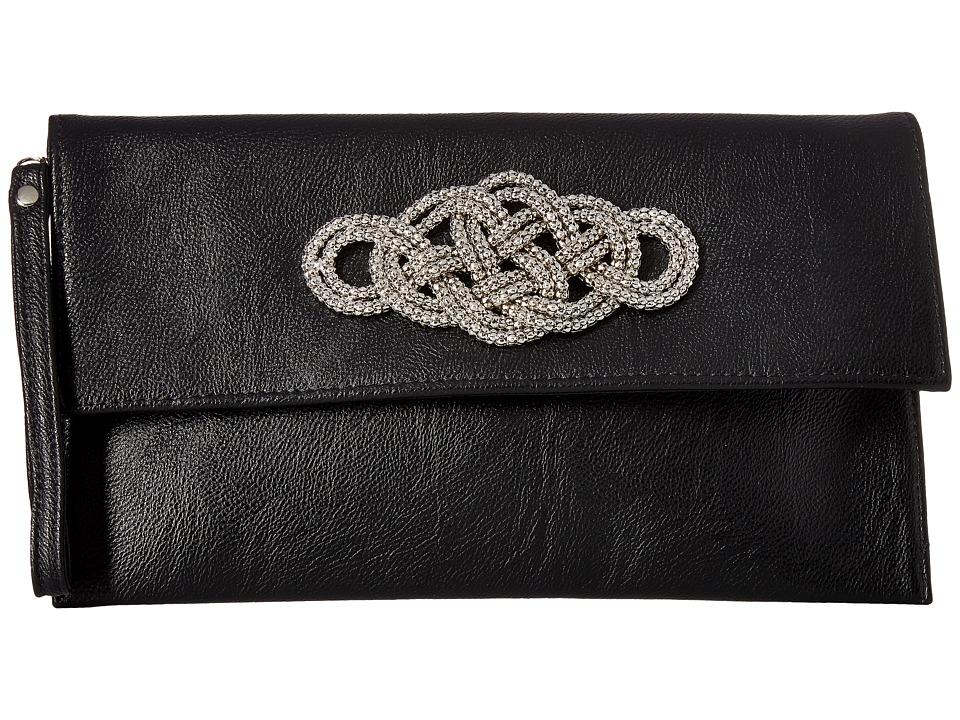 Jessica McClintock - Greta Envelope Clutch (Black) Clutch Handbags
