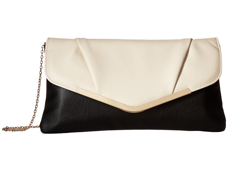 Jessica McClintock - Arielle Envelope Clutch (Black/Bone) Clutch Handbags