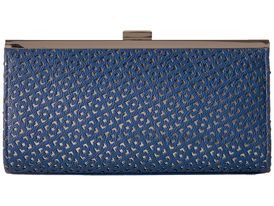 Jessica McClintock - Laura Perforated Framed Clutch (Navy) Clutch Handbags