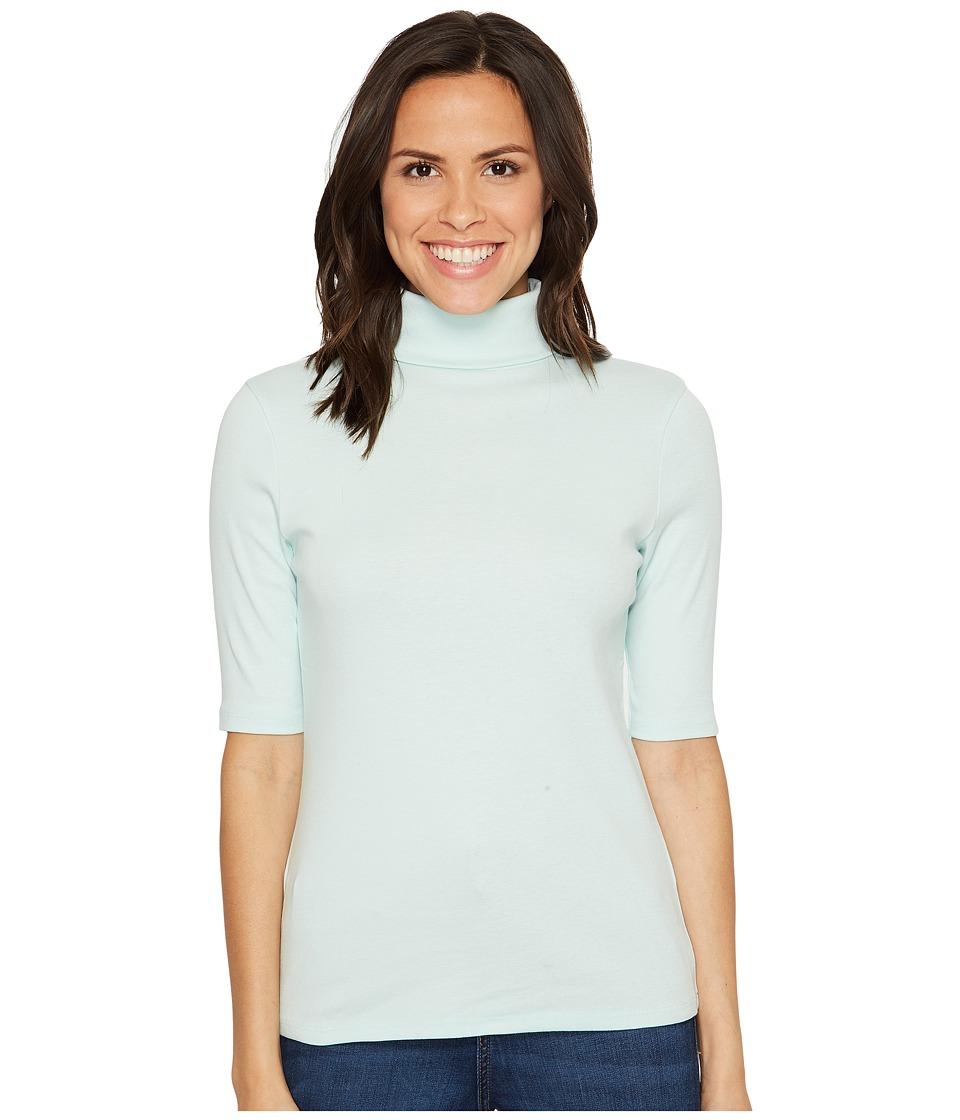 Lilla P - Elbow Sleeve Turtleneck (Ice) Women's Clothing