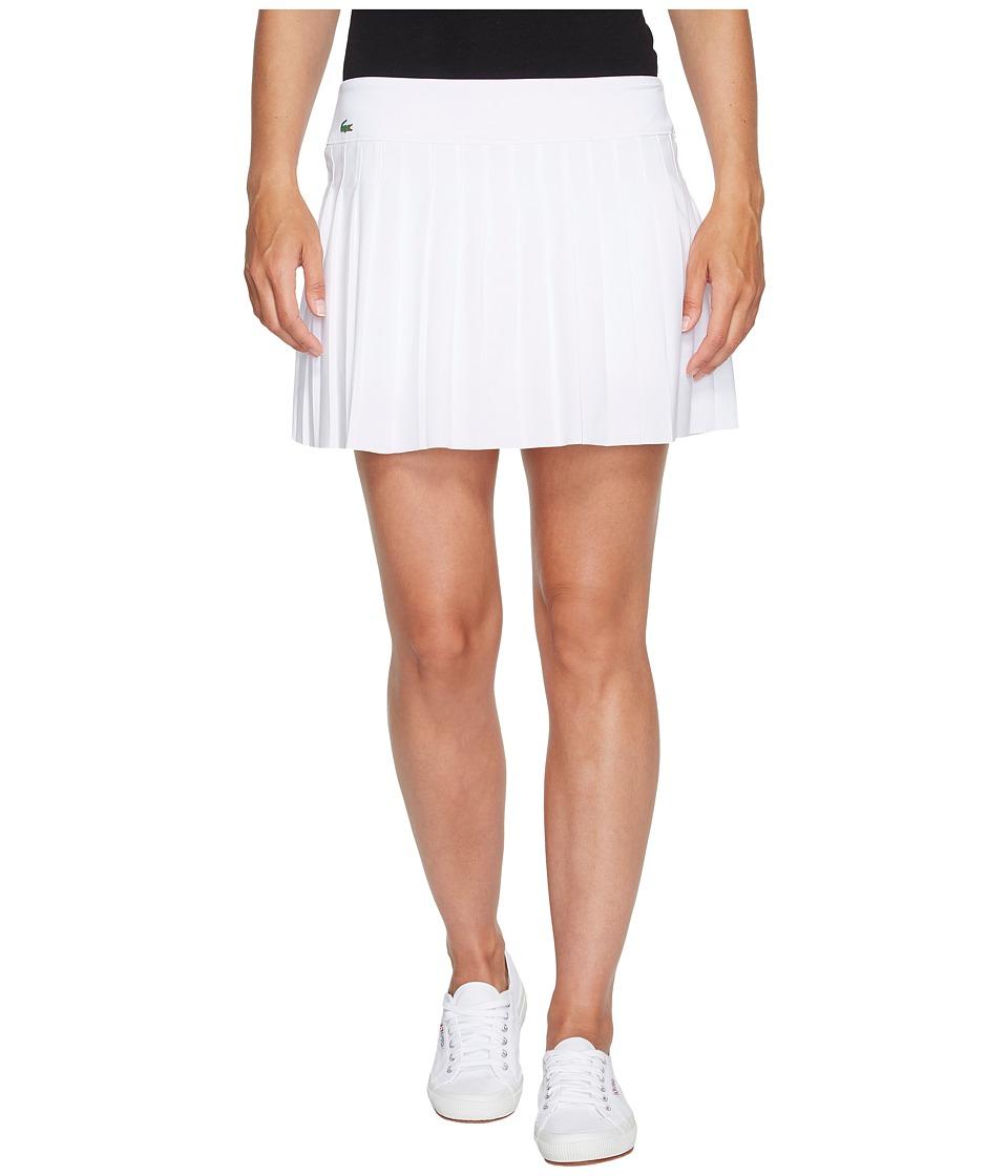 Lacoste - Light Technical Woven Pleated Skirt (White) Women's Skirt