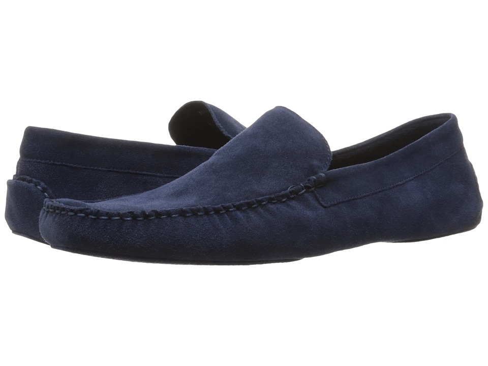 a. testoni - Suede Lined Cashmere Slipper (Navy) Men's Slip on Shoes