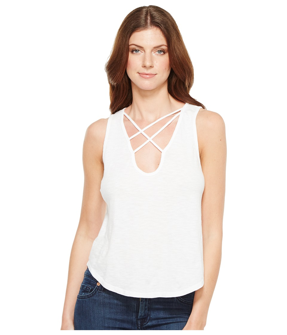 LNA - Triple Cross Tank Top (White) Women's Sleeveless
