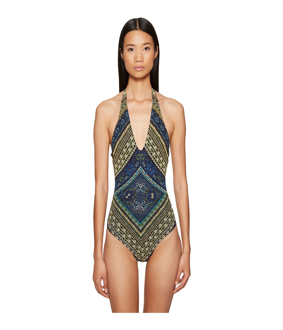 FUZZI - One-Piece Stripe Swimsuit (Zaffiro) Women's Swimsuits One Piece