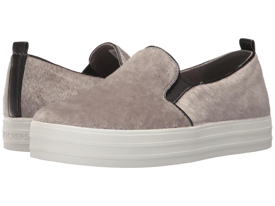 SKECHERS Street - Double Up - Faux Real (Grey) Women's Slip on Shoes