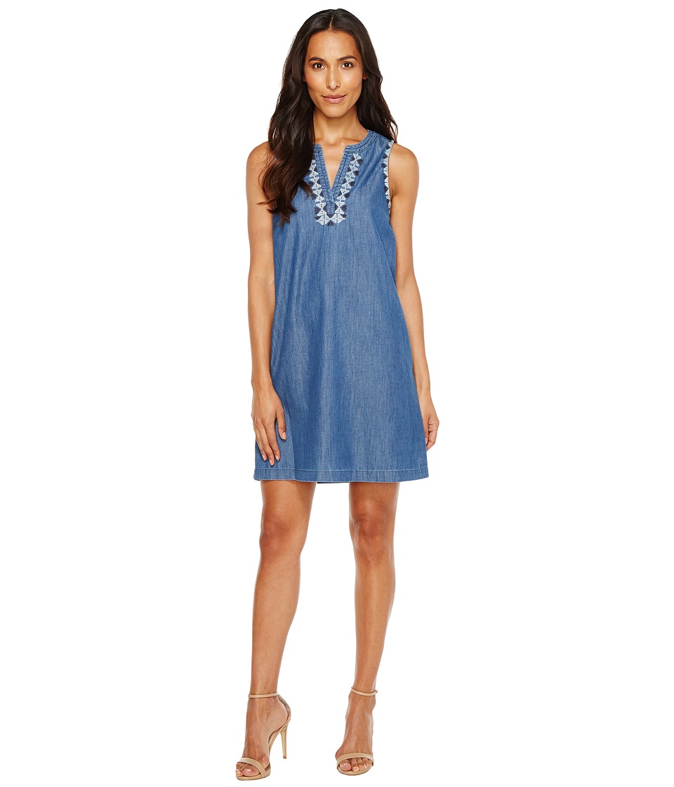 TWO by Vince Camuto Sleeveless Emroidered Split Neck Denim Dress (Authentic) Women