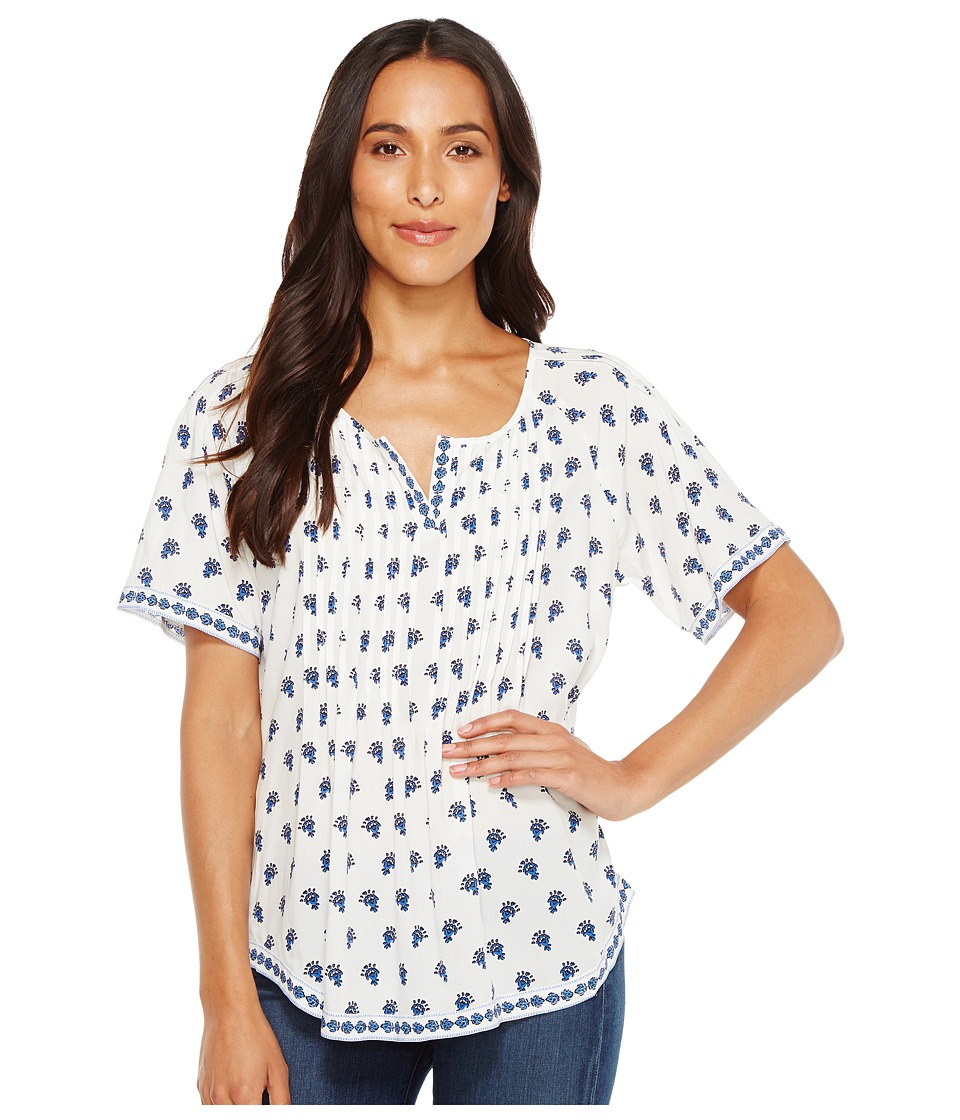 TWO by Vince Camuto - Paisley Stamp Pintuck Peasant Blouse (New Ivory) Women's Blouse