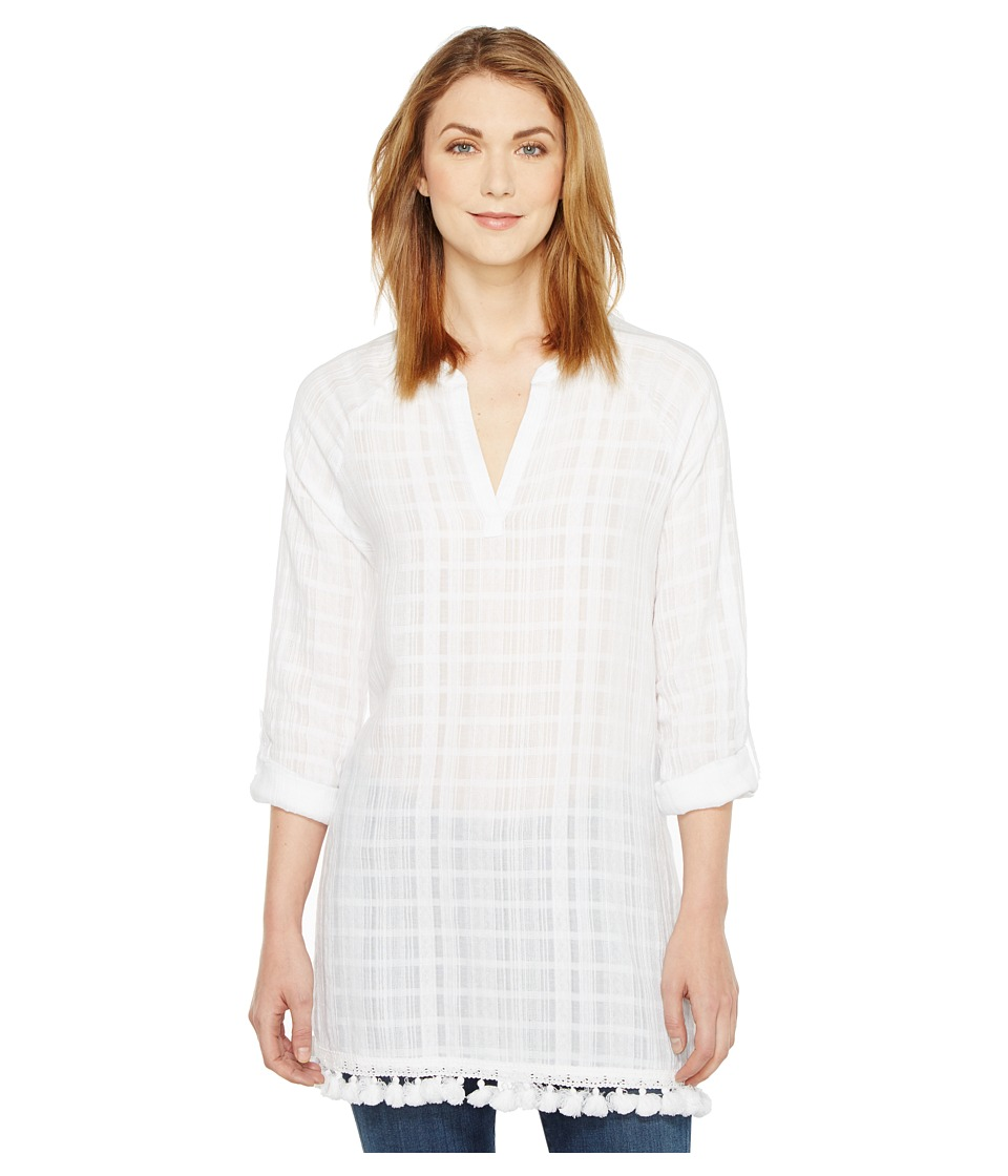 TWO by Vince Camuto - Long Sleeve Textured Gauze Tassle Hem Tunic (Ultra White) Women's Blouse