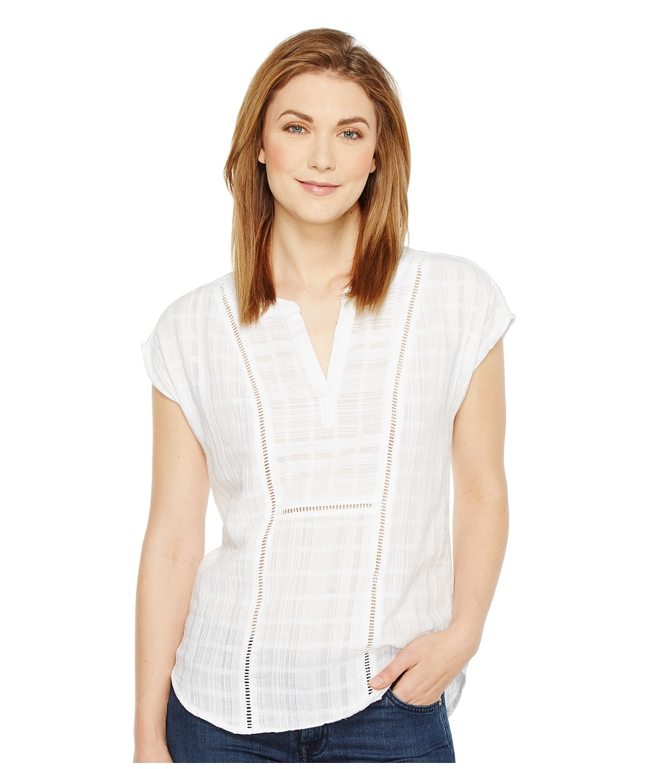 TWO by Vince Camuto - Gauze Stripe Split Neck Blouse with Faggoting (Ultra White) Women's Blouse