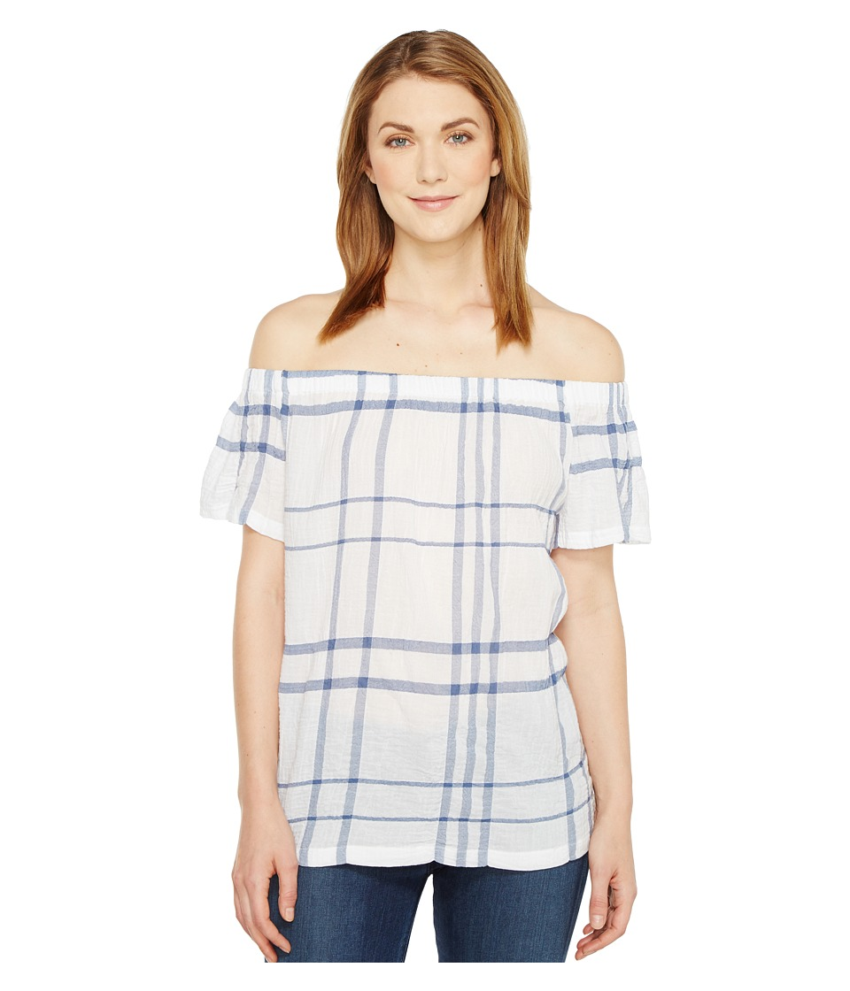 TWO by Vince Camuto - Off the Shoulder Timeless Plaid Blouse (Harbor Sky) Women's Blouse