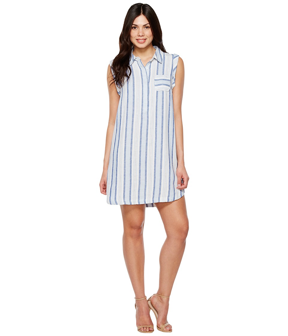 TWO by Vince Camuto - Sleeveless Sky Stripe Linen Collared Dress (Serenity) Women's Dress