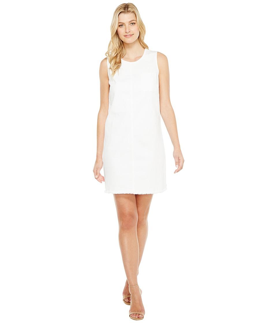 TWO by Vince Camuto Sleeveless White Denim Frayed Edge Shift Dress (Ultra White) Women