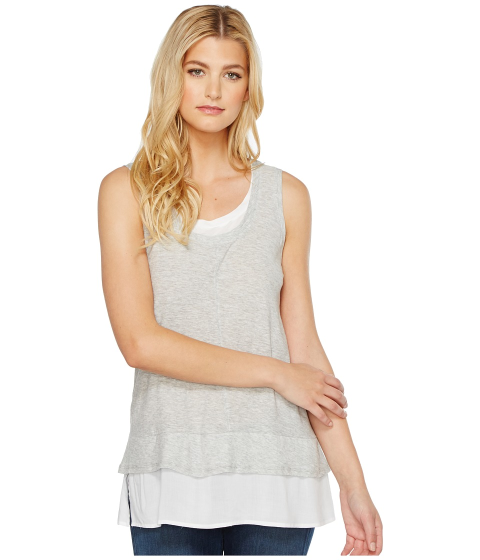 TWO by Vince Camuto - Sleeveless Double Layer Mix Media V-Neck Top (Ultra White) Women's Sleeveless