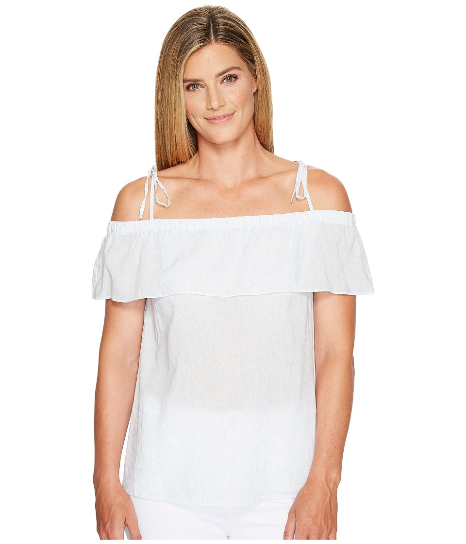 TWO by Vince Camuto - Cascading Petals Tied Cold Shoulder Blouse (Prairie Sky) Women's Blouse