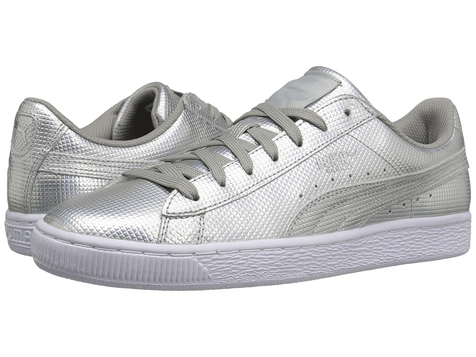 PUMA - Basket Classic Holographic (Puma Silver) Men's Shoes