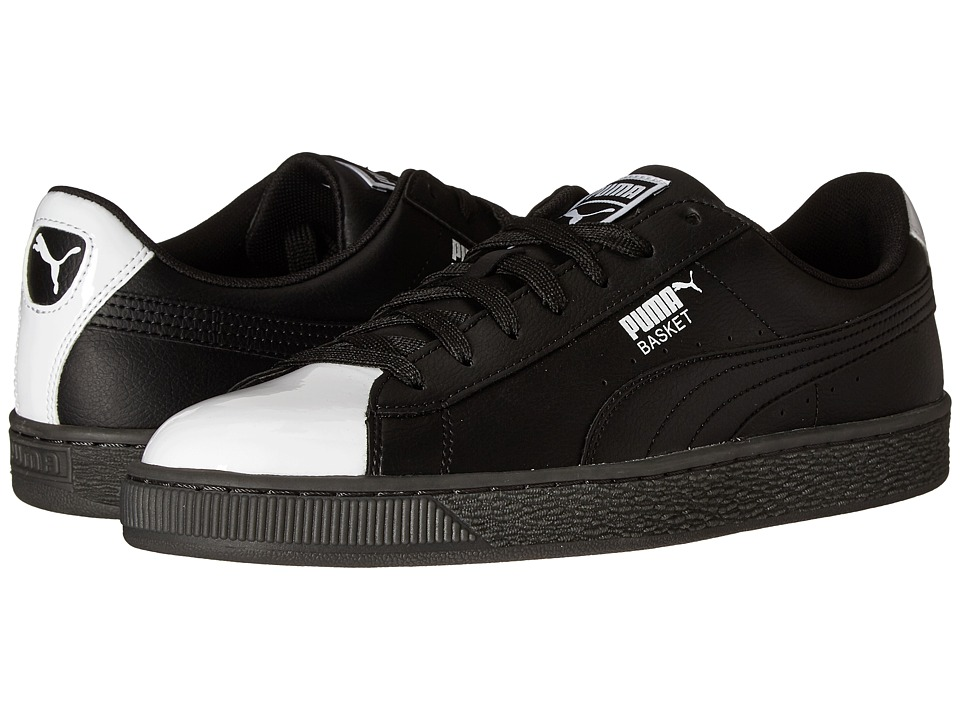 PUMA - Basket L Patent (Puma Black/Puma White) Men's Shoes