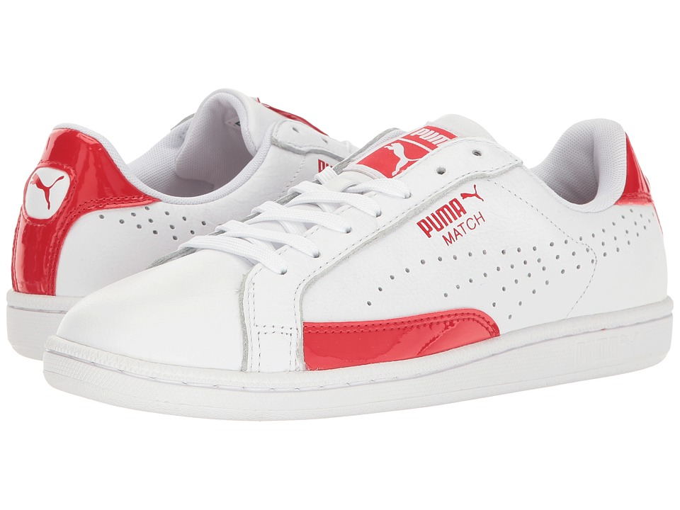 PUMA - Match TL Patent (White/High Risk Red) Men's Shoes