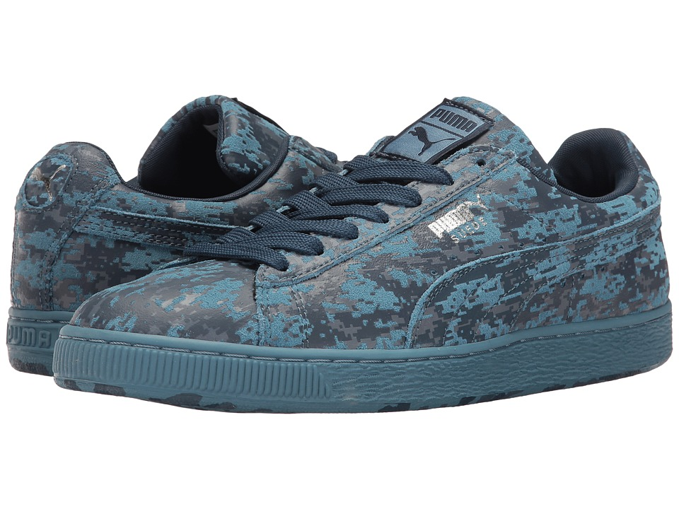 PUMA - Suede A Camo (Blue Heaven/Blue Wing Teal/Puma Silver) Men's Shoes