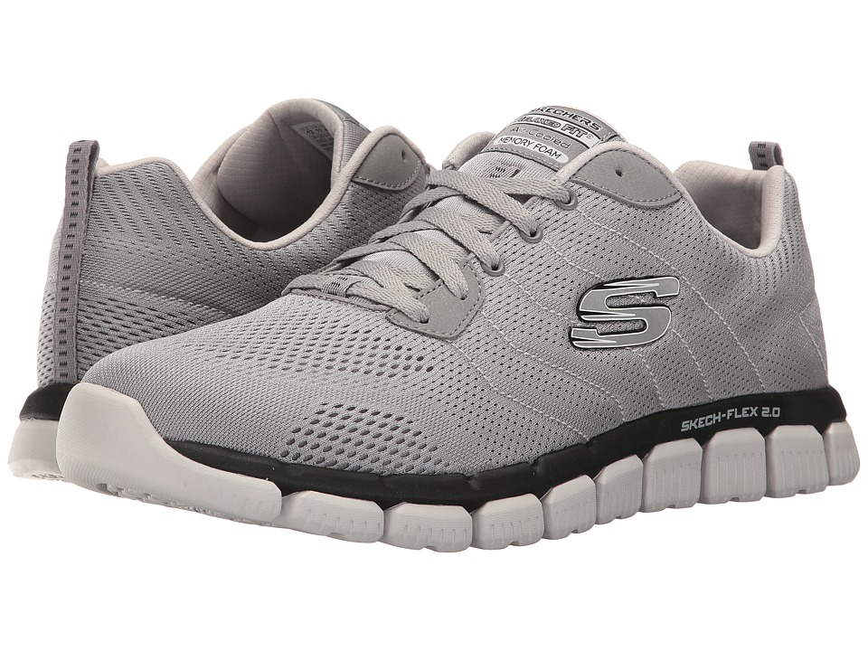 SKECHERS - Skech Flex 2.0 Milwee (Light Gray/Black) Men's Lace up casual Shoes
