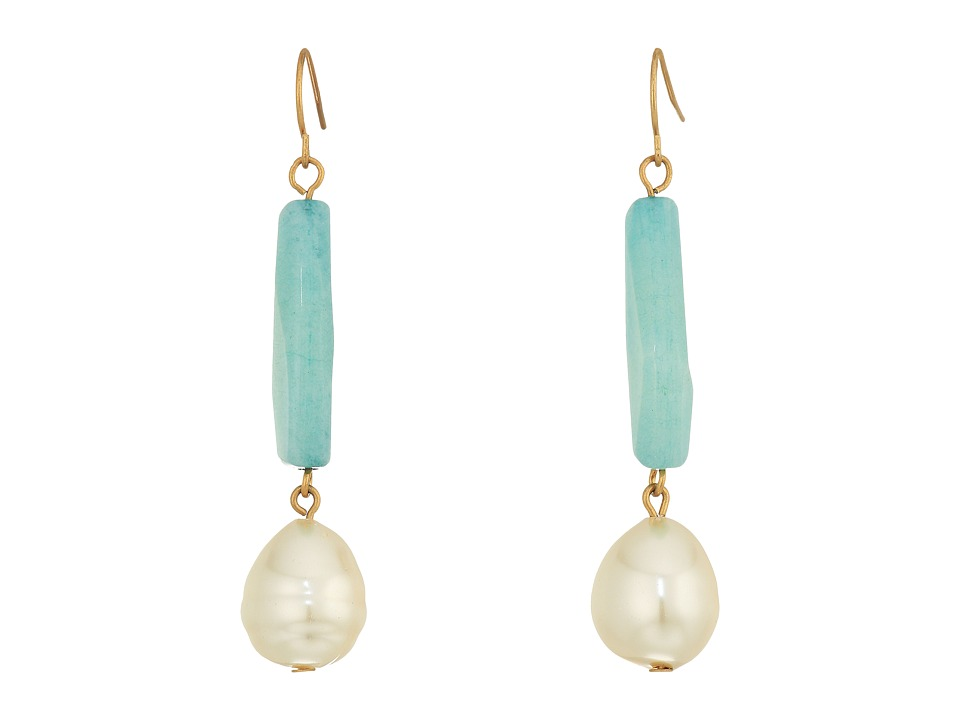 LAUREN Ralph Lauren - Linear Bead with Pearl Teardrop Earrings (Gold/Multi) Earring