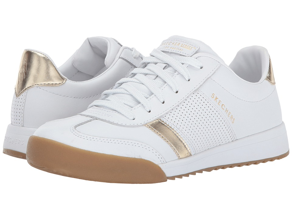 SKECHERS - Zinger (White/Gold) Women's Lace up casual Shoes