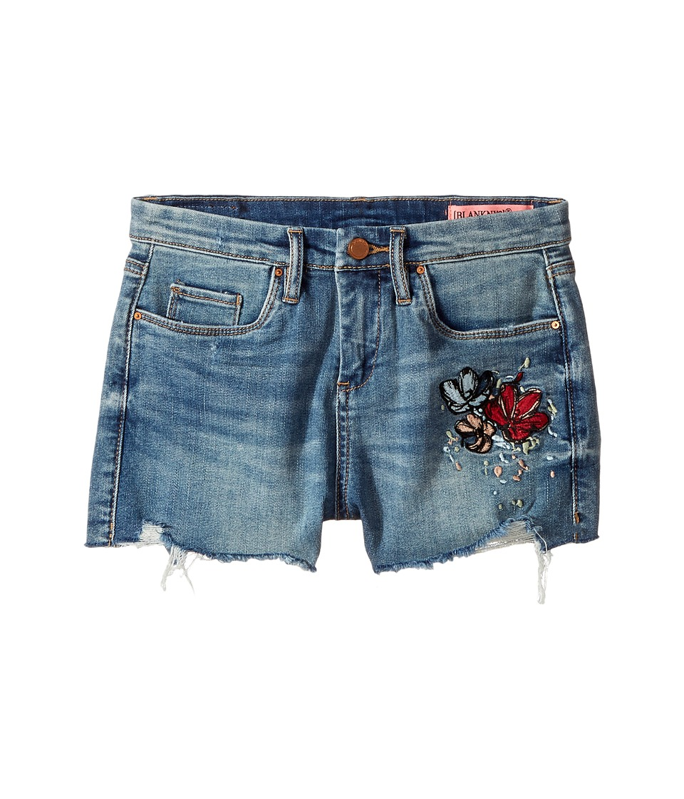 Blank NYC Kids - High-Rise Shorts w/ Embroidery in Blue (Big Kids) (Blue) Girl's Shorts