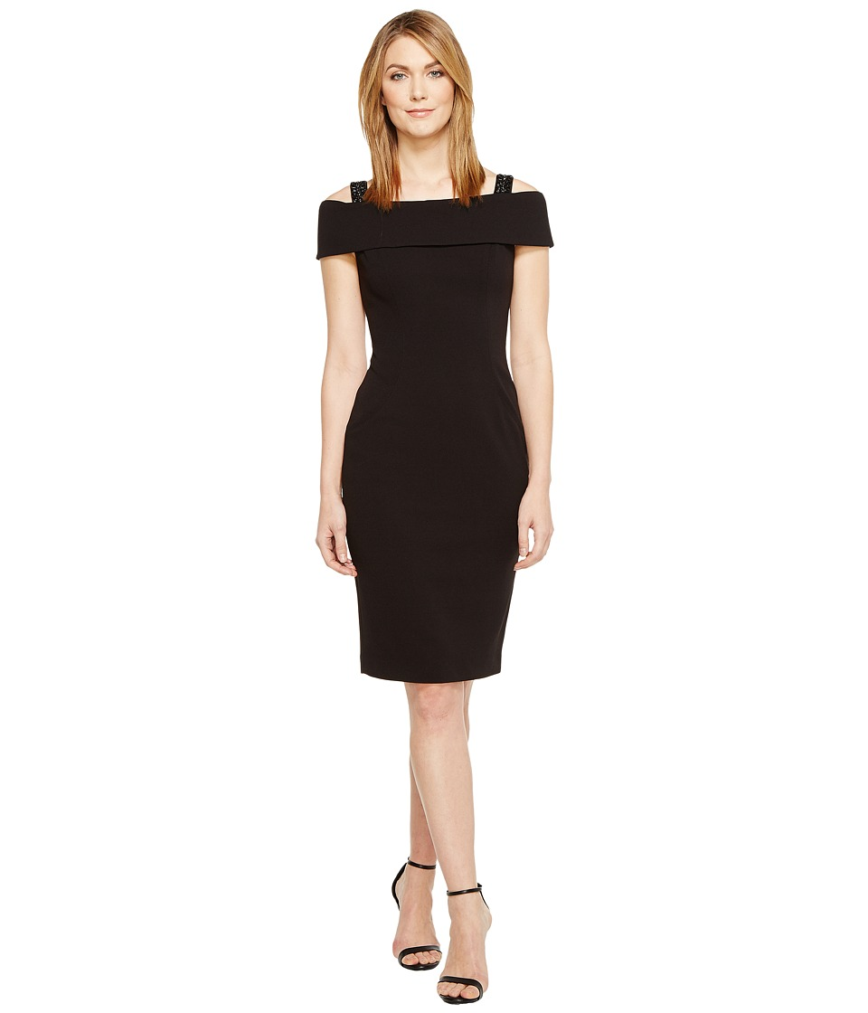 Adrianna Papell Crepe Off the Shoulder Cocktail Dress (Black) Women