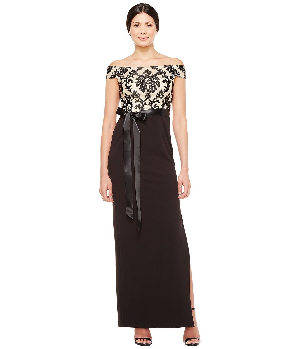 Adrianna Papell Emblem Column Gown (Black/Nude) Women