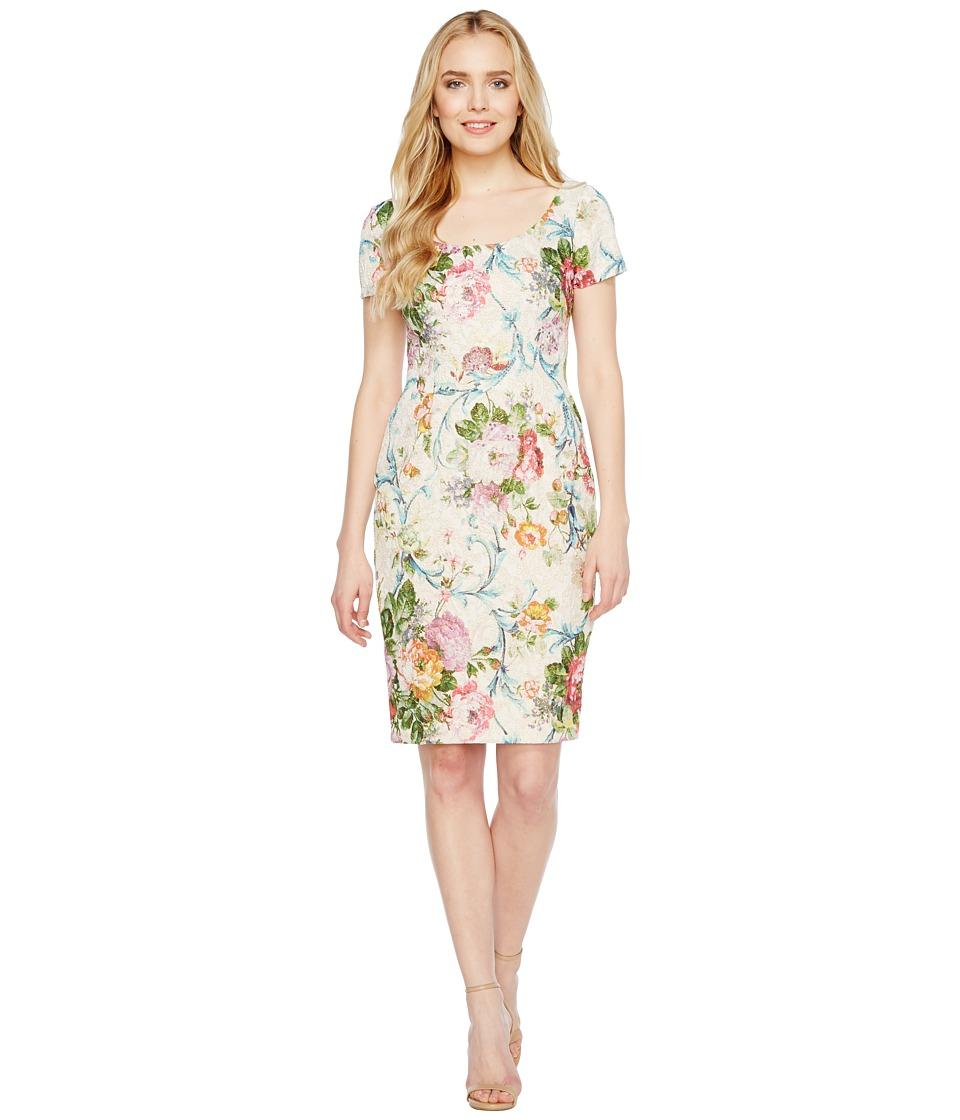 Adrianna Papell - Scoop Neck Matelasse Sheath Dress (Lavender Multi) Women's Dress