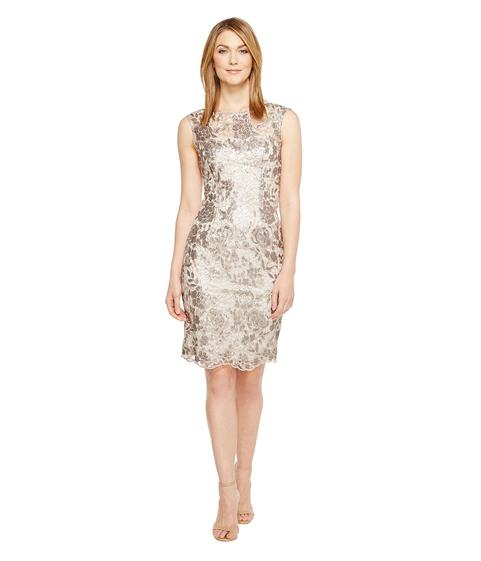 Adrianna Papell Floral Sequin Embroidered Sheath Dress (Light Mink) Women