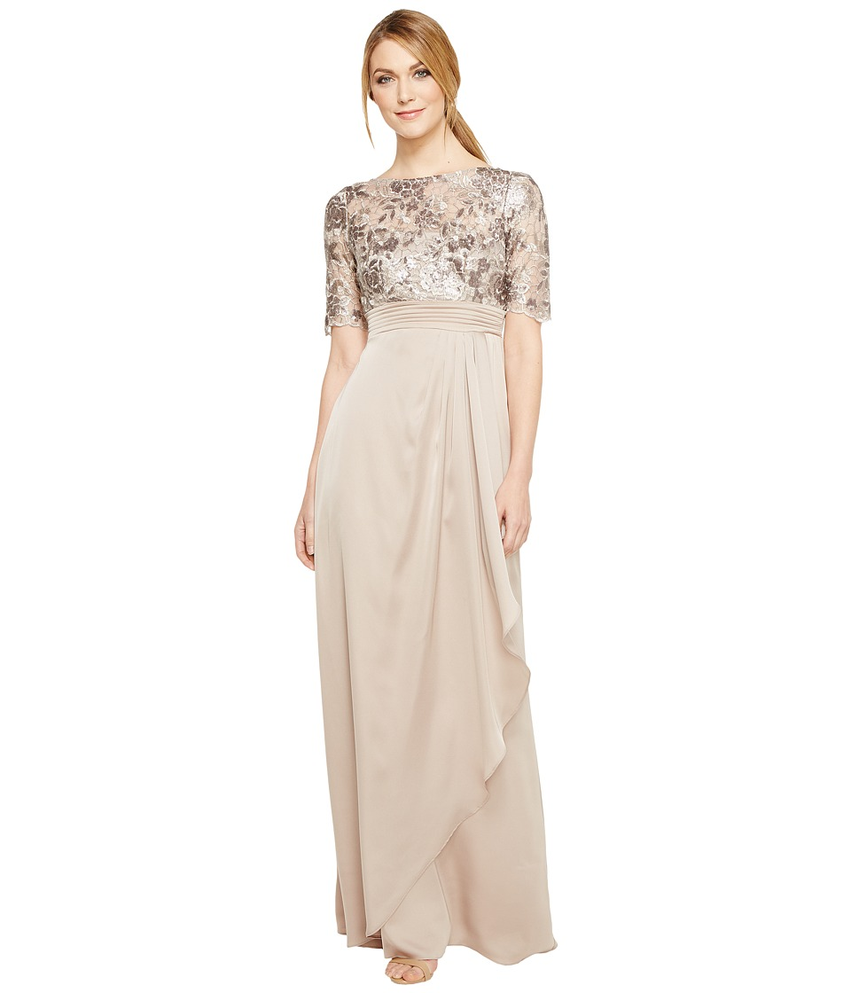 Adrianna Papell - Floral Sequin Embroidered Drape Gown (Light Mink) Women's Dress