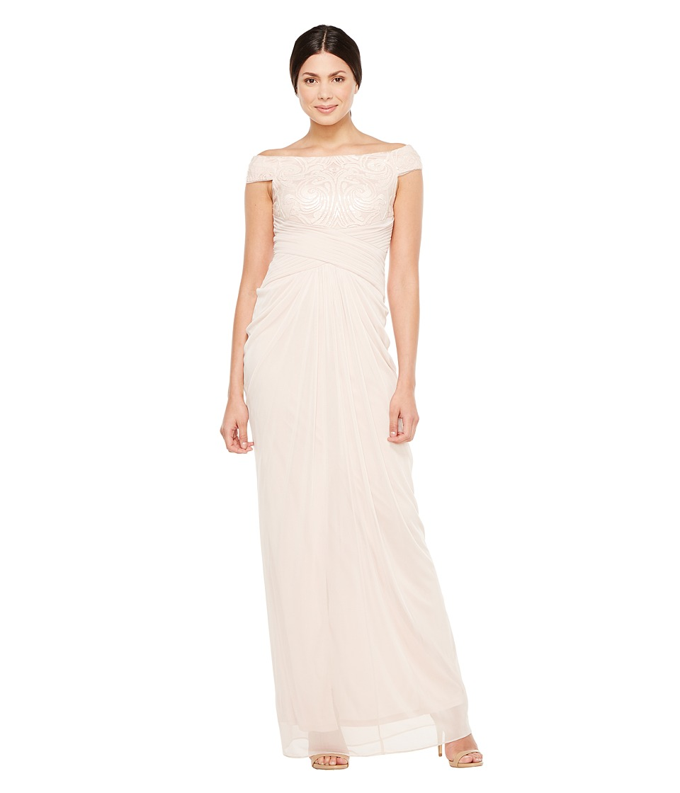 Adrianna Papell - Off Shoulder Sequin and Stretch Tulle Gown (Blush) Women's Dress