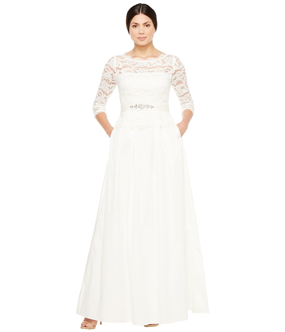 Adrianna Papell - Lace and Taffeta Ball Gown (Ivory) Women's Dress